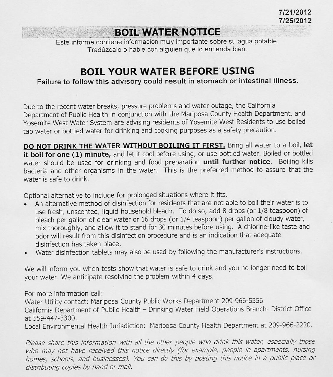 News from yosemite west property homeowners inc ongoing water system issues updated 892012 sciox Images